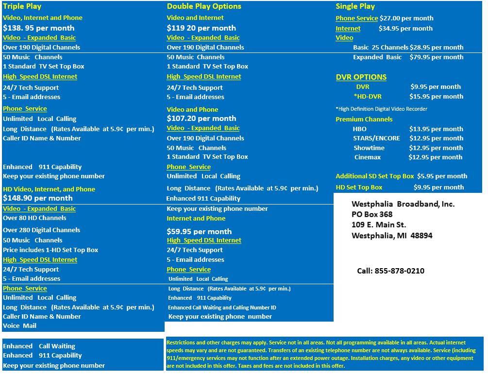 Westphalia Broadband Packages Westphalia Broadband Inc